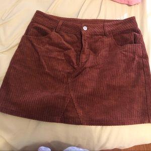 NEW Tillys burnt orange/brown corduroy skirt